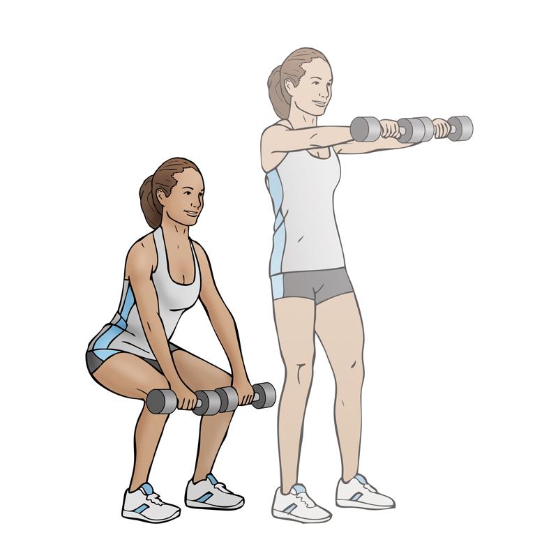 squat front raise